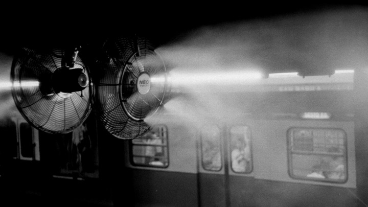 Illusrative photo of fans blowing foggy air in a subway station.